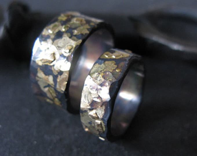 10mm 6mm Wedding Band Set 14K 18K Gold Sterling Silver