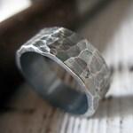 Mens Wedding Band Viking Wedding Ring Unique Mens Wedding Band 8mm Mens Wedding Ring Hammered Silver Mens Wedding Rings Black Rhodium Plated