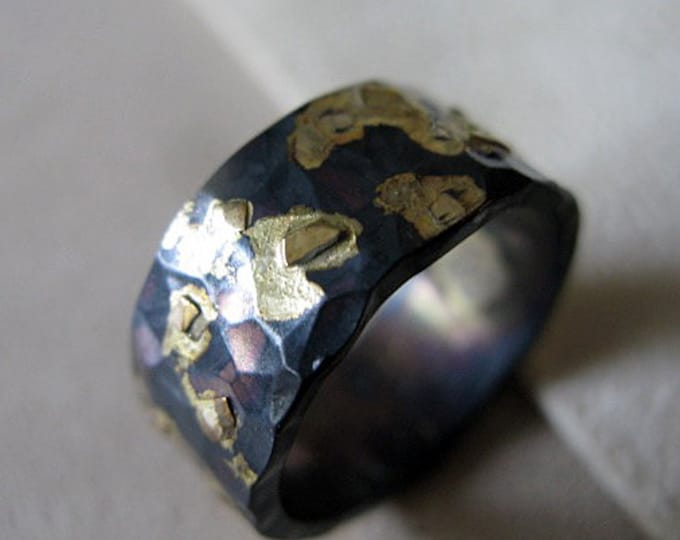Rustic Mens Wedding Band 10mm Blackened Silver and Gold