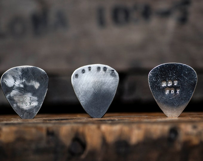 Sterling Silver Guitar Pick Handmade Distressed Finish