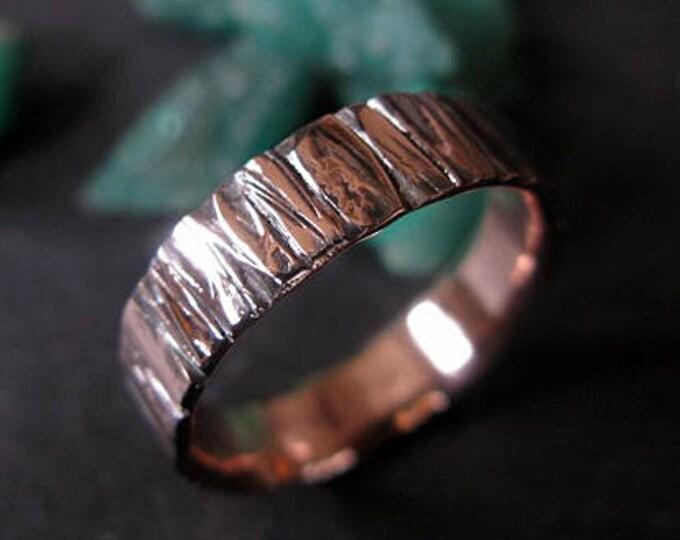 14K Rose Gold Mens Wedding Band 6mm Bark Ring