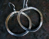 Free Form Freeform Silver Hoops Hammered Silver Earrings Ombre Finish 22K Black Rhodium One Inch Hoop Earrings Unique Artisan Gifts under 50