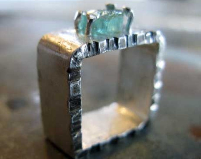 Raw Tourmaline Ring Square Shank
