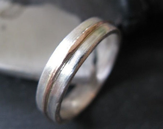 Silver and Rose Gold 5mm Mens Wedding Band Size 9 1/2