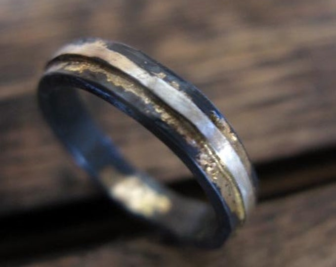 Mens Wedding Band 5mm Sterling Silver River Ring