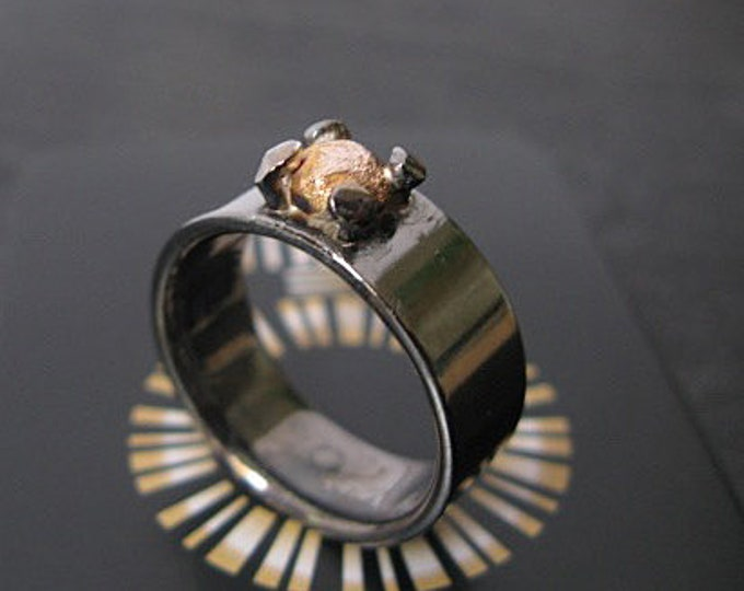 Blackened Silver with 14K Rose Gold Stone in Rustic Prong Mounting