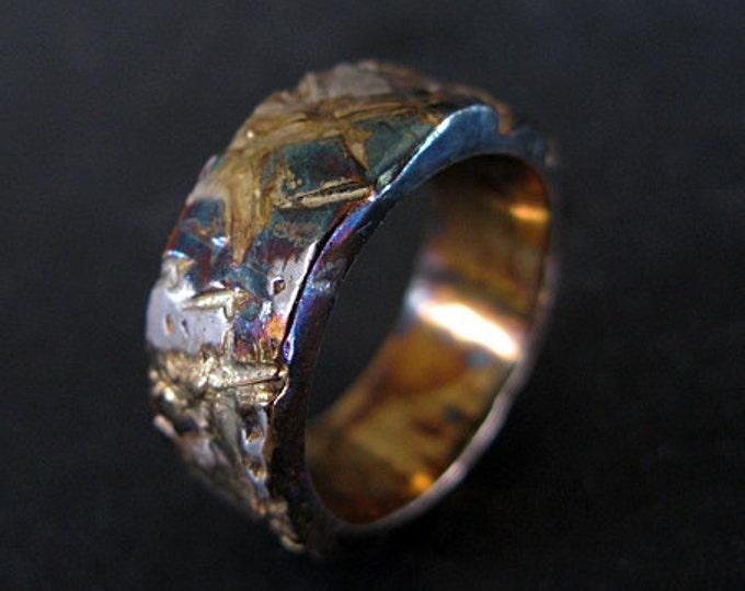 Mens Wedding Ring 9mm Urban Graffiti Viking Wedding Ring Oxidized Gold Silver Unique Mens Wedding Band Gold Mens Ring Mens Engagement Ring