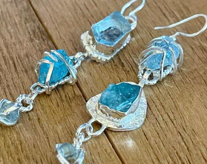 Aquamarine Blue Apatite Blue Zircon Earrings