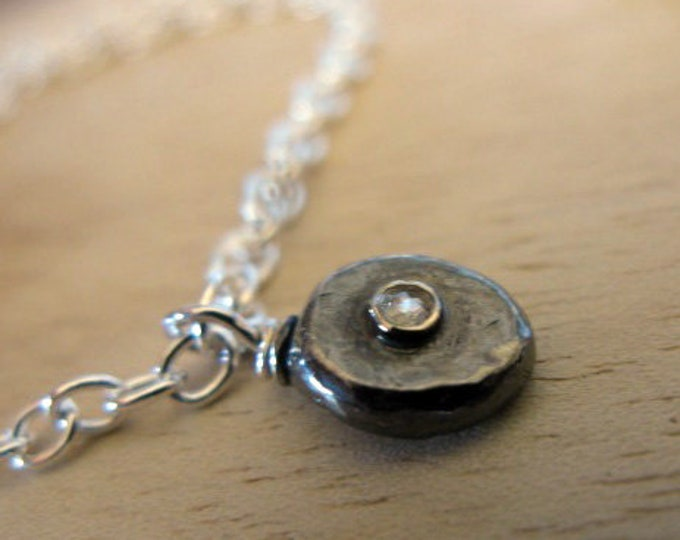 Rose Cut Diamond Necklace 2.5mm VS SI1 Genuine Diamond Sterling Silver Chain 16 inches