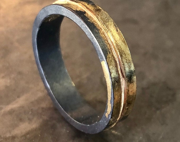 14K Rose Gold Sterling Silver Mens Ring Size 10-1/4