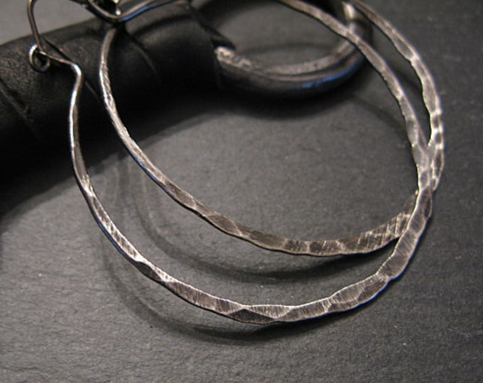 Two Inch Ombre Black Hoop Earring