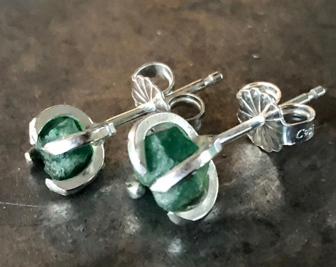 Raw Emerald Post Earrings