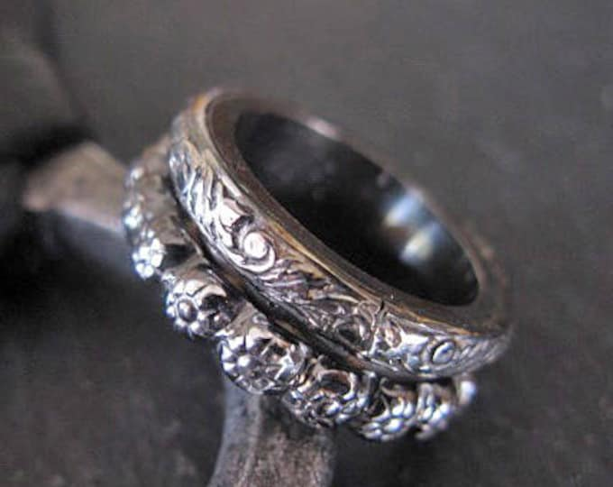 Viking Wedding Band Size 7 1/2 Vintage Wedding Band Unique Wedding Band Floral Wedding Ring 8mm Black Wedding Band Mens Wedding Bands