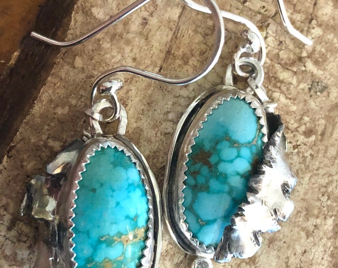 Turquoise Earrings Dangle Sterling Silver Leaf Earrings