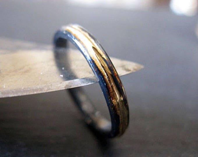 Mens Wedding Band 3mm Silver and Gold