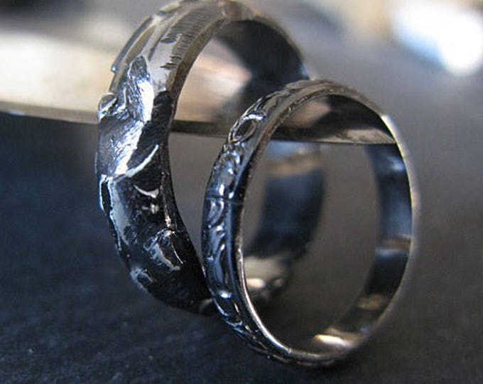 Black Rhodium Wedding Band Set