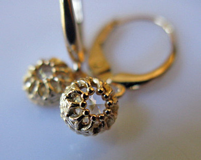 SALE - Genuine Diamond and Gold Drop Earrings