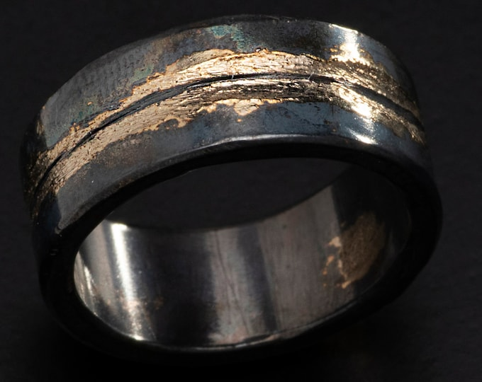 Mens Wedding Ring 8mm Blackened Silver and Gold