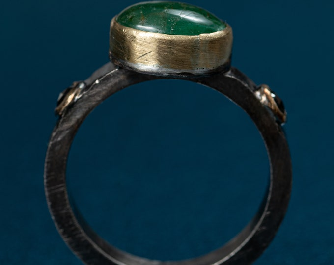 SALE Emerald Ring Modern Emerald Ring Size 9 3 Stone Engagement Ring Black Diamond Ring Oxidized Silver