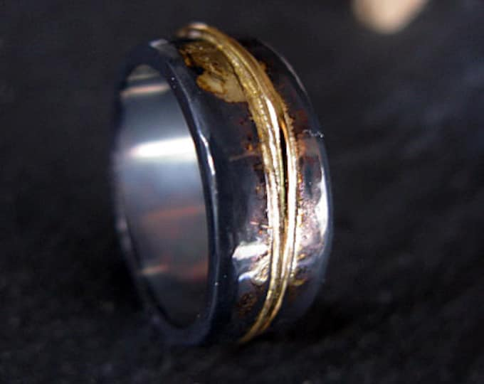 Mens Wedding Band 8mm Oxidized Silver and Yellow Gold