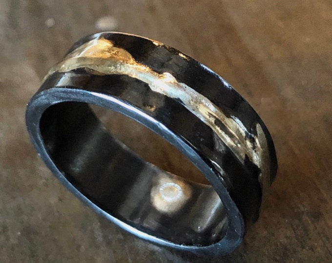 14K Yellow Gold Sterling Silver Mixed Metal Ring Custom Wedding Band 8mm Hammered Mens Ring Oxidized Silver Viking Wedding Ring