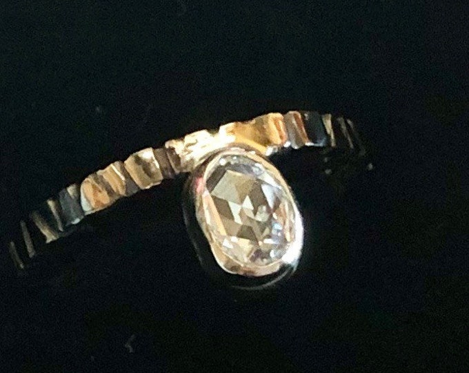 Rose Cut Diamond Ring Size 6 1/2