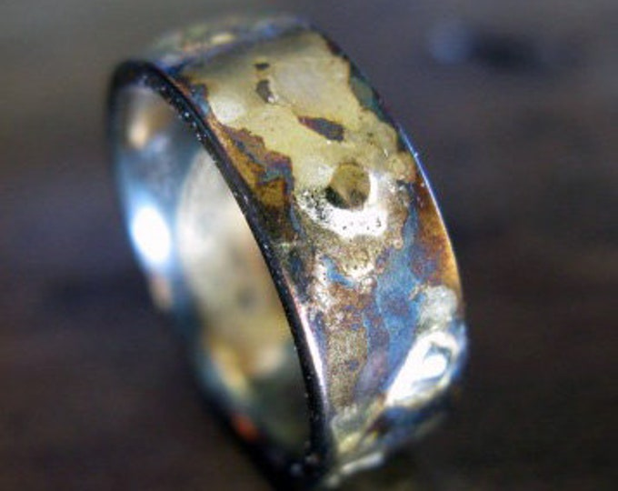 Mens Wedding Band 7mm Oxidized Silver and Gold