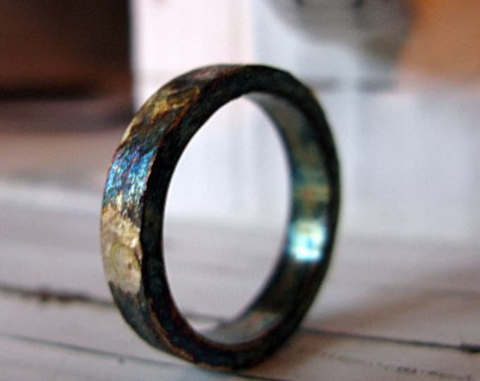 Rustic Mens Wedding Band 4mm Oxidized Silver and Gold