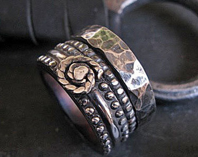 Goth Wedding Band 15mm Oxidized Sterling Silver