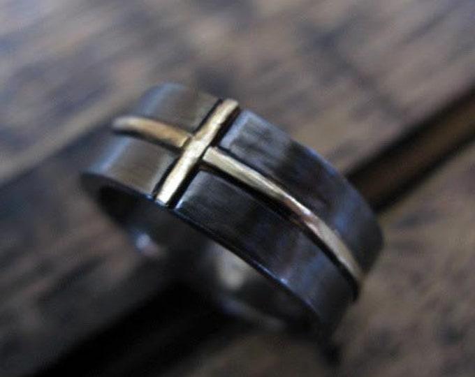 14K Gold Cross Ring 7-8mm Matte Finish