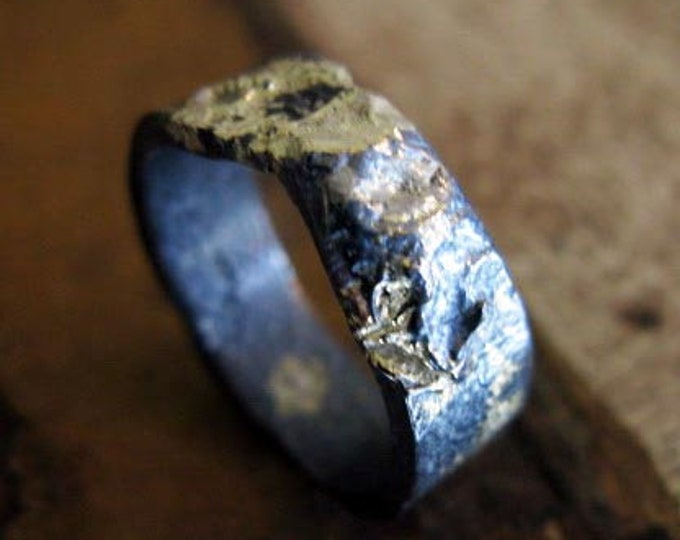 8mm Oxidized Silver and 18K Yellow Gold