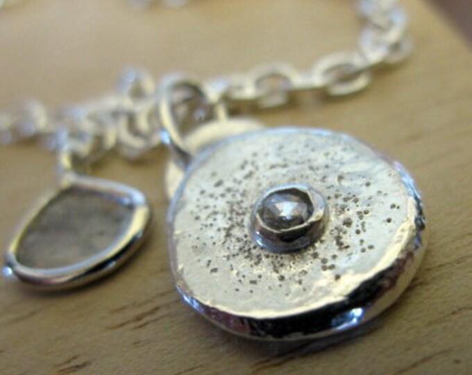 Genuine Diamond Charm Necklace with Diamond Slice