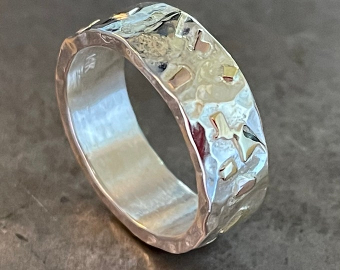 Mens Wedding Band 7mm Sterling Silver and Gold