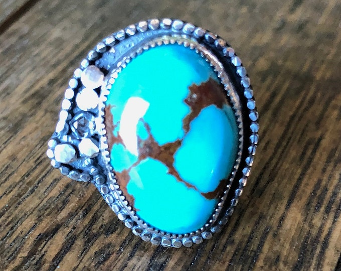 Natural Turquoise Ring with Diamond Accent Sterling Silver Southwest Jewelry Boho Ring