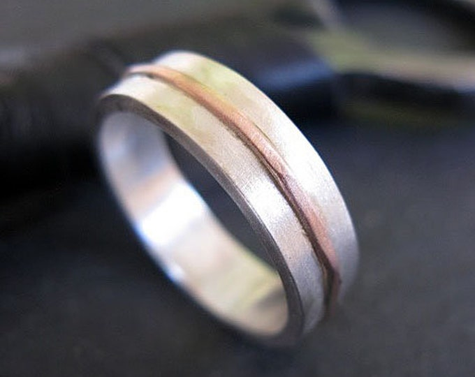 14K Rose Gold Sterling Silver Mixed Metal Custom Wedding Band 5mm Brushed Finish Mens Ring Minimalist Wedding Band