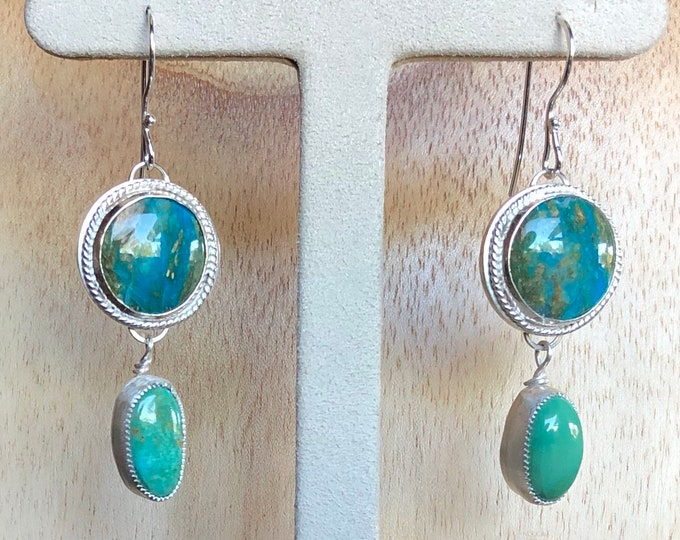 Green Turquoise Dangle Earrings New Mexico mined turquoise Madrid New Mexico Southwestern Earrings Sterling Silver hand fabricated