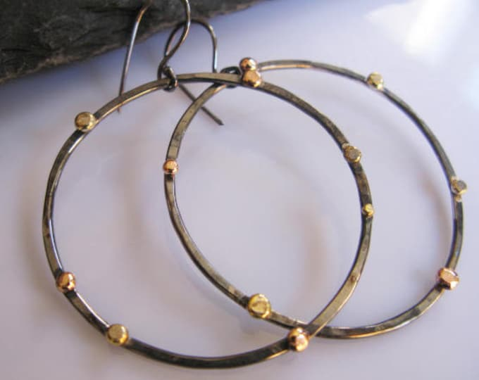 Large Hoop Earrings Rose Gold Pebble Black Hoops Modern Chic Designer Gold Hoop Earring Boho Earring Silver Hoop Earring 2 Inch Hoop Earring