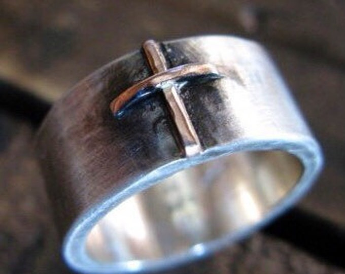 14K Rose Gold and Silver 10mm Cross Ring
