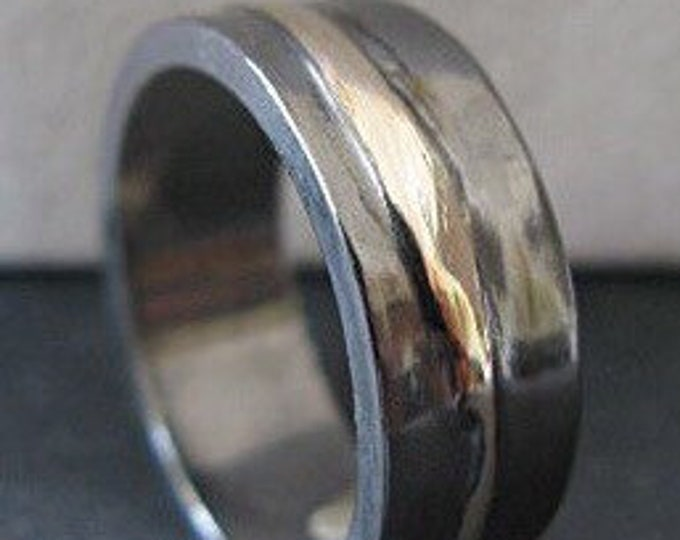 Silver Gold Ring 8mm Mens Wedding Band