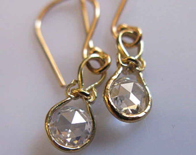 14K Diamond Earrings Rose Cut Diamonds Solid Gold VS Diamond .5 TCW Tiny Diamond Earrings Rose Cut Diamond Earrings Diamond Drop Earrings