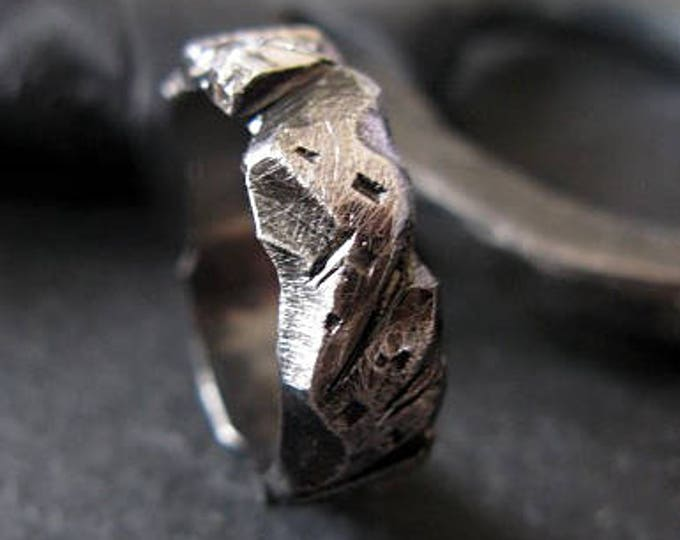 Carved Mens Wedding Band 7mm Sterling Silver