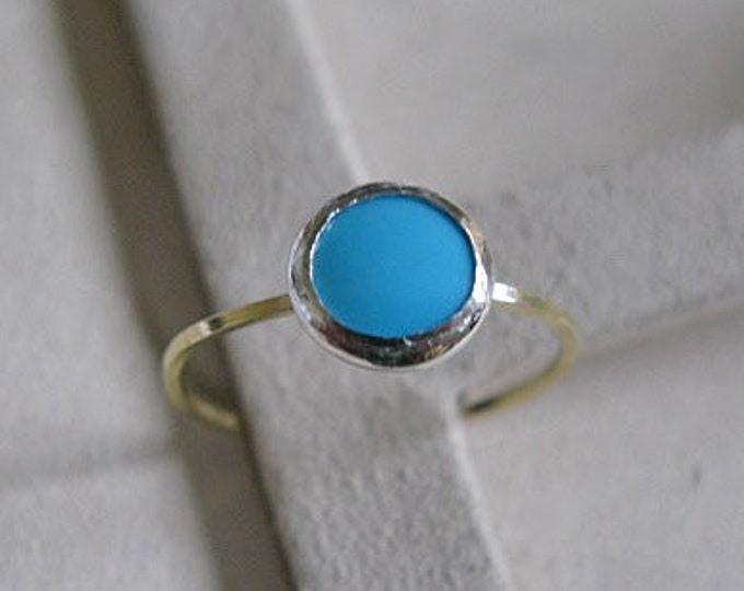 Turquoise Stacking Ring 18K Gold Size 8