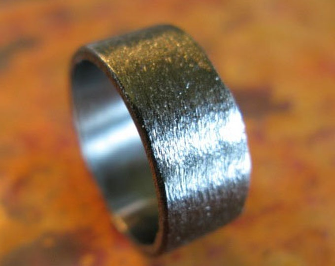 Mens Black Wedding Band 8mm Sterling Silver