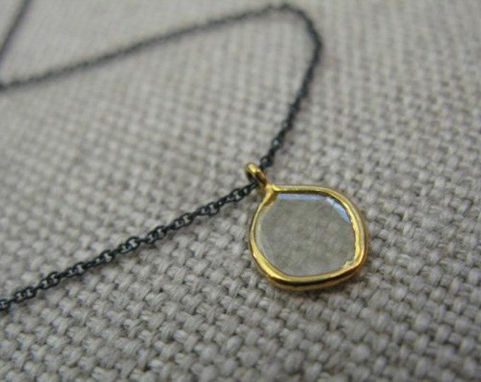 Genuine Diamond Slice 18K Solid Gold Bezel Modern Minimalist Pendant Necklace