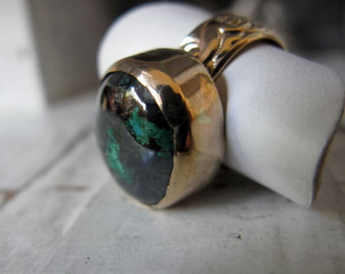 SALE Size 5 1/2 Rare Connellite Ring 14K Gold Turquoise