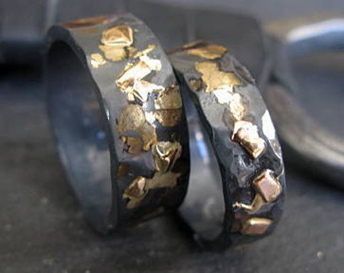 6MM 8MM Wedding Band Set Oxidized Silver and Gold