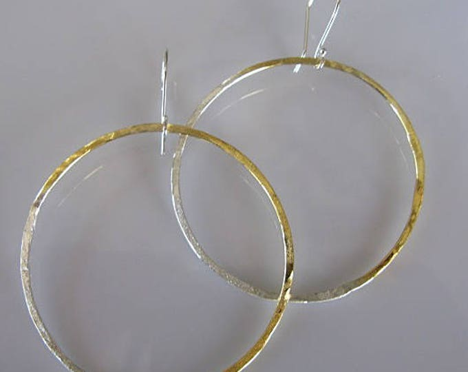 24K Gold and Silver 3 Inch Hoop Earrings