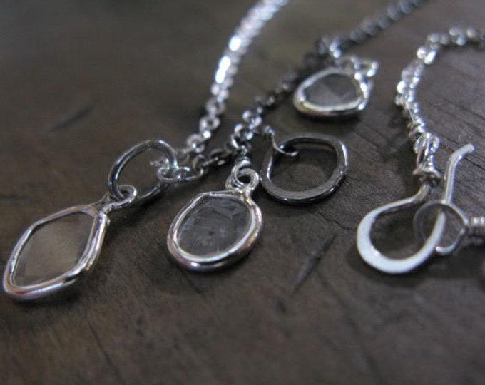 Genuine Diamond Slice Asymmetrical Station Necklace Sterling Silver