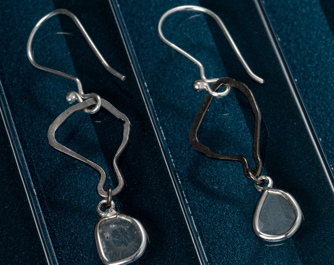 Diamond Slice Silhouette Earrings Genuine Diamond Dangle Earrings 2 inch Sterling Silver Black Rhodium Plating