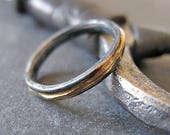 14K Yellow Gold Sterling Silver Mixed Metal Ring Custom Wedding Band 3mm Hammered Mens Ring Oxidized Silver